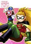 1girl blonde_hair boots candy cape captain_america chibi crossover dc_comics domino_mask kandamari long_hair marvel mask ponytail robin robin_(dc) stephanie_brown superhero