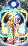 cloud clouds cure_bloom cure_egret futari_wa_precure_splash_star highres hyuuga_saki mishou_mai moon multiple_girls precure sky takebi