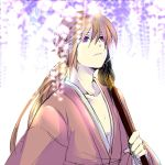 flower himura_kenshin japanese_clothes katana long_hair male ponytail purple_eyes red_hair redhead rurouni_kenshin scar sword uya violet_eyes weapon wisteria