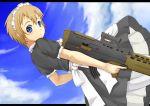 assault_rifle blue_eyes brown_hair cloud clouds gun l85 l85a1_(upotte!!) maid okosan_(pixiv) rifle short_hair sky trigger_discipline upotte!! weapon