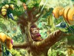 clothed_pokemon forest highres kabotya_to_rantan kirby_(series) nature no_humans parody pokemon scared teddiursa theft tree whispy_woods