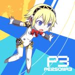 1girl aegis android arashiya blonde_hair blue_eyes bow headphones open_mouth outstretched_arms persona persona_3 short_hair solo title_drop