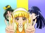 aoki_reika blonde_hair blue_eyes blue_hair blush color_connection covered_mouth green_eyes green_hair hair_ribbon hair_tubes hairband hidden_mouth kise_yayoi long_hair midorikawa_nao multiple_girls open_mouth parody ponytail precure ribbon short_hair smile_precure! yamahige yellow_eyes yes!_precure_5
