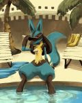 1other bench chair creatures_(company) feet_in_water full_body game_freak gen_4_pokemon holding holding_sunglasses lucario nintendo no_humans palm_tree pokemon pokemon_(creature) pokemon_dppt pool purplekecleon red_eyes sitting soaking_feet solo sunglasses tail tree water