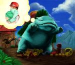 2boys bulbasaur food fruit hat hug kabotya_to_rantan mountain multiple_boys ookido_green ookido_green_(hgss) pokemon pokemon_(game) pokemon_hgss pokemon_rgby red_(pokemon) red_(pokemon)_(classic) sky venusaur
