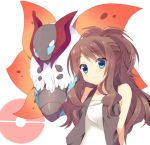 blue_eyes brown_hair mayachi_(amuriya) no_hat no_headwear pokemon pokemon_(game) pokemon_bw ponytail touko_(pokemon) vest volcarona