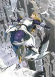 bird blonde_hair boots cityscape closed_eyes epaulettes eyes_closed flying jetpack male oono_tsutomu power_suit short_hair sky_high solo superhero tiger_&_bunny
