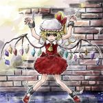 1girl blonde_hair chain chained flandre_scarlet hat nanashii_(soregasisan) red_eyes ribbon short_hair skirt smile solo touhou wings