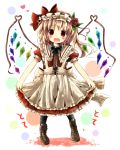 :d alternate_costume black_legwear blonde_hair blush boots dress flandre_scarlet flower hair_flower hair_ornament hairband highres kazura open_mouth red_eyes smile solo touhou wings