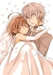 1boy 1girl accelerator blush bridal_veil brown_eyes brown_hair carrying collar confetti dress last_order looking_at_viewer princess_carry short_hair to_aru_majutsu_no_index veil wedding wedding_dress white_hair yamano_(151515)