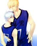 2boys basketball_uniform blonde_hair blue_eyes blue_hair kise_ryouta kuroko_no_basuke kuroko_tetsuya multiple_boys sportswear subaru_(hz) yellow_eyes