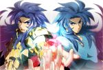 armor blue_eyes blue_hair cimeri full_armor gemini_kanon gemini_saga long_hair multiple_boys saint_seiya sea_dragon_kanon siblings twins