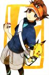 1boy bad_id brown_eyes brown_hair cosplay endou_mamoru inazuma_eleven inazuma_eleven_(series) jacket kyouhei_(pokemon) kyouhei_(pokemon)_(cosplay) male male_protagonist_(pokemon_bw2) male_protagonist_(pokemon_bw2)_(cosplay) pikachu poke_ball pokemon pokemon_(creature) pokemon_(game) pokemon_bw2 short_hair shorts tukemono6 visor_cap