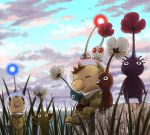 blonde_hair blue_pikmin brown_hair flower grass leaf louie multiple_boys naru_(wish_field) olimar pikmin pikmin_(creature) pointy_ears purple_pikmin red_pikmin sitting white_pikmin yellow_pikmin