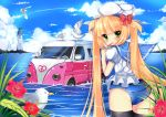 back bird blonde blonde_hair blush bow car cloud clouds duji_amo flower green_eyes hair_bow hat high_res highres holding lighthouse lollipop long_hair looking_at_viewer looking_back mizugi motor_vehicle no_pants ocean one-piece one-piece_swimsuit original partially_submerged plant popsicle sailor_hat school_swimsuit school_uniform seagull serafuku sky solo sucker sukumizu swimsuit swimsuit_under_clothes thighhighs twintails van vehicle very_long_hair water wet