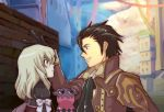 1girl alvin_(tales_of_xillia) blonde_hair bolero brown_eyes brown_hair coat cravat creature cropped_jacket elise_lutus frown green_eyes hand_on_head kugiko short_hair smile tales_of_(series) tales_of_xillia tipo_(xillia)