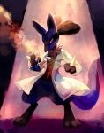 clothed_pokemon creature erlenmeyer_flask evil flask full_body holding labcoat light lucario no_humans pokemon pokemon_(creature) purplekecleon red_eyes scientist signature solo standing steam
