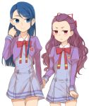 blue_eyes blue_hair long_hair looking_at_viewer mimino_kurumi minazuki_karen minazuki_randoseru multiple_girls precure purple_hair red_eyes school_uniform simple_background smile white_background yes!_precure_5