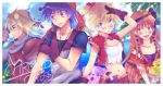 2girls alien bandana bandanna blonde_hair blue_eyes blue_hair chrono_cross dog food fruit glenn green_eyes kanata_(mizubenisumutori) kid_(chrono_cross) leena midriff multiple_boys multiple_girls navel poshul purple_eyes red_hair redhead scar scarf serge starky tank_top violet_eyes