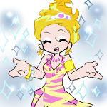 artist_request blonde_hair dress fukumitsu_(kirarirorustar) kirariroru_star open_mouth panty_&_stocking_with_garterbelt panty_(character) panty_(psg) smile solo