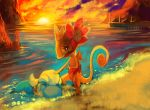 bagon closed_eyes eyelashes flower hair_flower hair_ornament hand_on_another's_head kecleon looking_down no_humans not_shiny_pokemon on_stomach partially_submerged perspective pier pmd-explorers pokemon pokemon_(creature) purplekecleon standing sun water