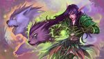 armor bear cat claws elf feathers fire green_fire highres jimaoxiaodi long_hair night_elf pointy_ears purple_hair purple_skin warcraft wolf world_of_warcraft