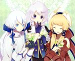 3girls animal aqua_eyes bird blonde_hair flower gloves hat kai28 long_hair pixiv_fantasia violet_eyes white_hair