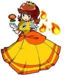 blue_eyes breasts brown_hair dress fire fire_flower fireball flower fukumitsu_(kirarirorustar) gem gloves kirariroru_star long_hair looking_at_viewer nintendo power-up princess princess_daisy simple_background smile solo super_mario_bros. white_background