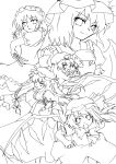 book flandre_scarlet highres hong_meiling izayoi_sakuya lineart long_hair miki_(mizuki) monochrome multiple_girls open_mouth patchouli_knowledge remilia_scarlet short_hair smile touhou