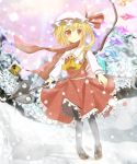 ascot blonde_hair blush bow bunchou_(bunchou3103) fang flandre_scarlet hat highres pantyhose red_eyes ribbon rumia scarf short_hair side_ponytail sign silhouette skirt smile snow snowman solo touhou translated wings