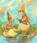 1girl blue_sky buizel couple eye_contact eyelashes floatzel flower grass hand_on_own_face holding holding_flower looking_at_another nature no_humans outdoors pokemon pokemon_(creature) purplekecleon scarf sitting sky soaking_feet standing water