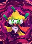 absurdres arms_up commentary creature floating green_eyes highres jirachi leg_up no_humans outstretched_arms pokemon pokemon_(creature) purple_background purplekecleon scarf solo spread_arms