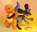 charmander claws eyelashes fangs gradient gradient_background highres no_humans orange_background pokemon pokemon_(creature) purplekecleon riolu tail-tip_fire tears tickling yellow_background