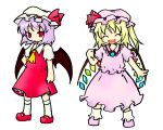 ascot blonde_hair cosplay costume_switch flandre_scarlet flandre_scarlet_(cosplay) miki_(mizuki) multiple_girls purple_hair red_eyes remilia_scarlet remilia_scarlet_(cosplay) simple_background smile touhou white_background wings