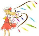 ascot blonde_hair closed_eyes eyes_closed flandre_scarlet long_hair miki_(mizuki) simple_background solo touhou white_background wings