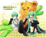 hatsune_miku hatsune_mikuo leek teddy_bear usami vocaloid