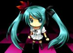 checkered checkered_floor chibi fukumitsu_(kirarirorustar) hatsune_miku kirariroru_star long_hair looking_at_viewer solo twintails very_long_hair vocaloid world_is_mine_(vocaloid)