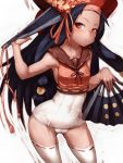 black_hair contrapposto fan fumio_(rsqkr) hat hips humio hyakka_ryouran_samurai_girls long_hair looking_at_viewer red_eyes sanada_yukimura_(hyakka_ryouran) school_swimsuit solo swimsuit swimsuit_under_clothes thighhighs very_long_hair white_school_swimsuit