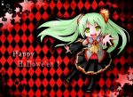 argyle argyle_background colored green_eyes green_hair hatsune_miku long_hair looking_at_viewer miki_(mizuki) open_mouth smile solo star vocaloid young