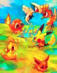 battle bird blue_sky brown_eyes charmander chibi dragonite eevee electricity eye_contact flying ho-oh looking_at_another lugia minimized no_humans pokemon red_eyes scared shizuku_(asanuma) sitting sky standing sweatdrop