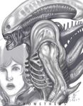alien_(movie) elizabeth_shaw helmet kusagami_style lips monochrome monster noomi_rapace open_mouth prometheus_(movie) realistic science_fiction sketch spacesuit xenomorph