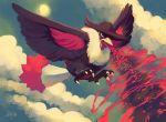 beam bird blue_sky cloud clouds commentary fedora flying hat highres honchkrow huge_filesize no_humans pokemon pokemon_(creature) purplekecleon sky sun wings