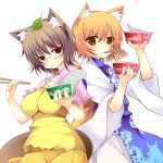 aburaage animal_ears blonde_hair blush breasts brown_hair chopsticks eating food fox_ears fox_tail futatsuiwa_mamizou glasses highres holding kitsune_udon kusano_(torisukerabasu) leaf leaf_on_head looking_at_viewer mouth_hold multiple_girls raccoon_ears raccoon_tail tail touhou udon yakumo_ran yellow_eyes