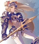 aqua_eyes armor backlighting blonde_hair breasts buckler expressionless faulds from_below gauntlets greaves kegani_(kegani01) lance long_hair looking_at_viewer midriff navel original pauldrons polearm solo spear standing tan thigh-highs thighhighs trident visor_(armor) warrior weapon white_legwear wind