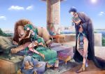 1girl aqua_eyes aqua_hair blue_eyes blue_hair cape egypt hatsune_miku highres irono_yoita kaito lens_flare lion long_hair outdoors pillow sandals shoes smile solo sun twintails very_long_hair vocaloid