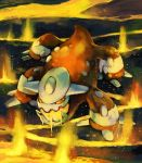 commentary heatran highres looking_up molten_rock monster no_humans open_mouth orange_(color) orange_eyes pokemon pokemon_(creature) purplekecleon solo