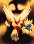 blaziken blue_eyes claws commentary creature highres looking_at_viewer no_humans pokemon pokemon_(creature) purplekecleon running signature yellow_sclera