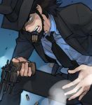 beard black_eyes black_hair facial_hair gun hat jigen_daisuke lupin_iii male necktie pistol reloading revolver shaded_face shell_casing short_hair smoke solo toujou_sakana weapon