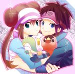 1boy 1girl blue_eyes brown_hair double_bun female_protagonist_(pokemon_bw2) hug kuronomine kyouhei_(pokemon) male_protagonist_(pokemon_bw2) mei_(pokemon) oshawott pokemon pokemon_(creature) pokemon_(game) pokemon_bw2 raglan_sleeves snivy tepig twintails visor_cap