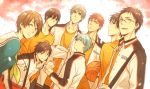 6+boys aida_riko blue_eyes blue_hair brown_eyes brown_hair glasses hyuuga_junpei izuki_shun jacket kagami_taiga kiyoshi_teppei koganei_shinji kuroko_no_basuke kuroko_tetsuya mitobe_rinnosuke multiple_boys school_uniform serafuku short_hair sleepy69 whistle white_hair